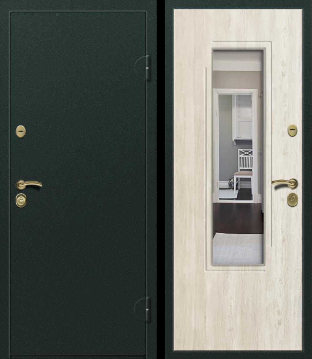Вариант двери: Металл, чёрный и МДФ сосна скания с зеркалом