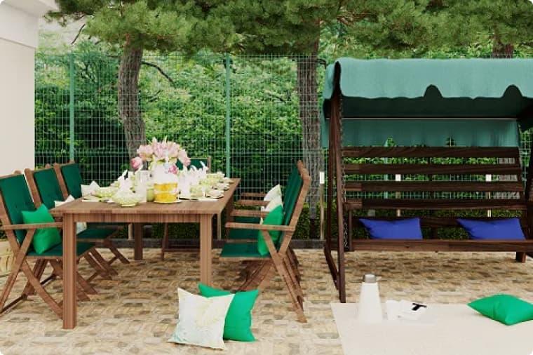 Патио с обеденной зоной