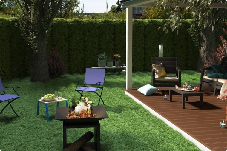 Садовый очаг у террасы