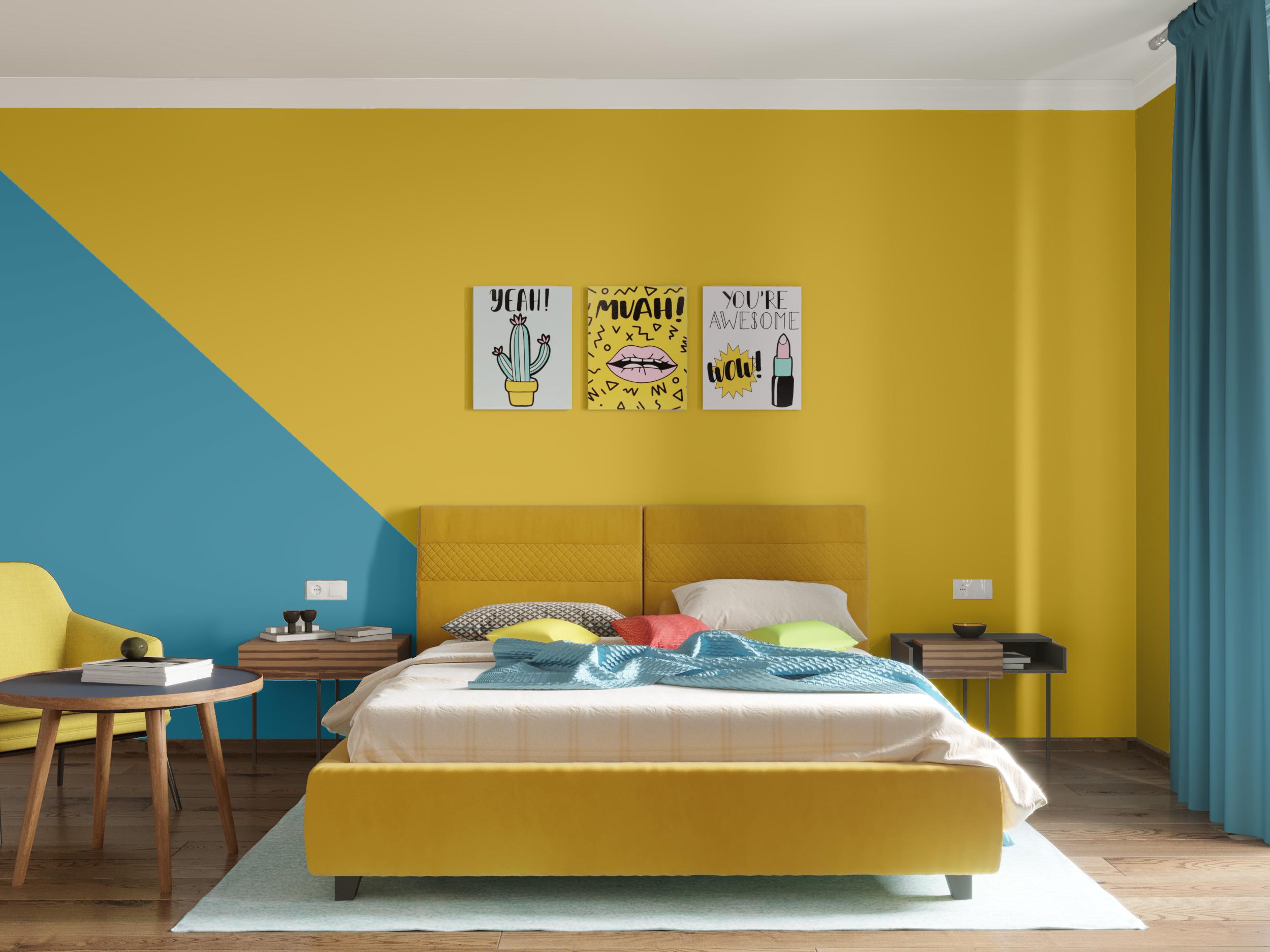 позитивные краски в спальне готовое решение в интернет магазине