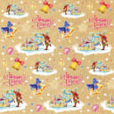 Бумага упаковочная крафтовая «Малыши на санках» 100x70 см