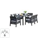 Набор садовой мебели Keter Delano пластик графит: 2 софы, 2 кресла, 1 стол