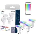 Лампа умная светодиодная Yeelight GU10 200-240 В 5Вт спот прозрачная 350 лм, регулируемый цвет света RGBW, для диммера, 4 шт.