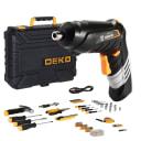 Аккумуляторная отвертка DEKO DKS4FU-Li в кейсе с набором инструментов (112 предм.)