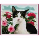Алмазная мозаика ArtXobby Кошка в цветах бальзамина АМ036