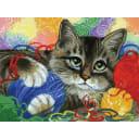 Картина по номерам на картоне Белоснежка Котик с клубочками 3005-CS