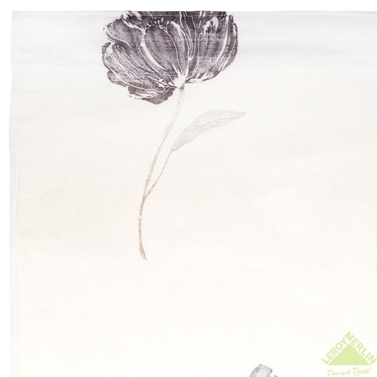 Тюль 300х260 см цветы батист см на ленте бежевый