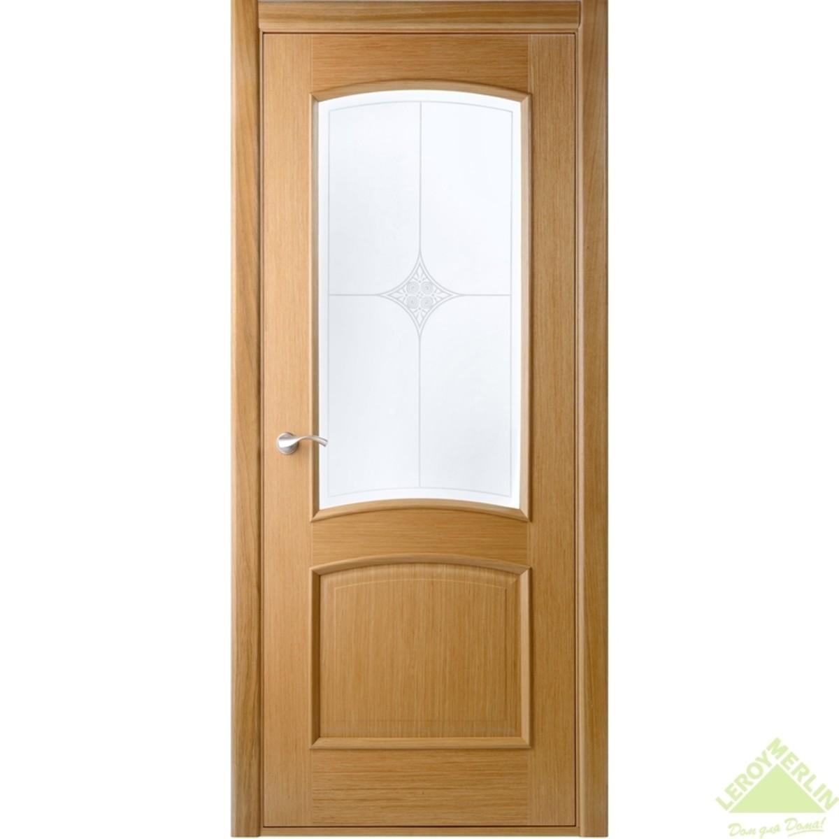 Полотно дверное остекленное Сорренто 2000x600 мм шпон дуб