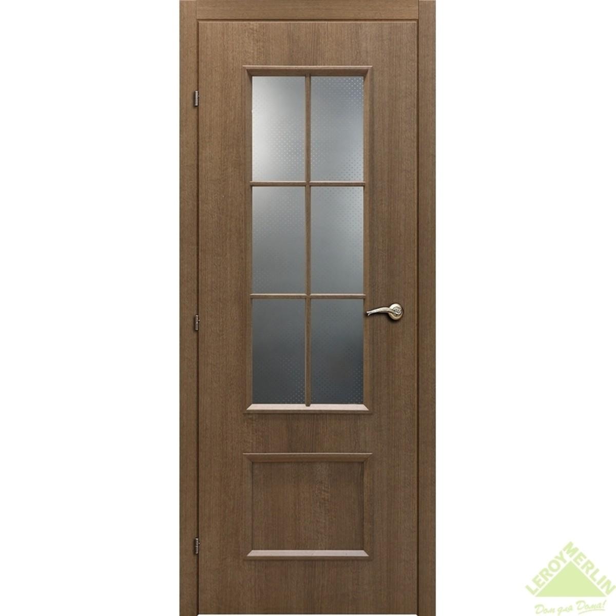 Дверь межкомнатная остеклённая 5003 КД 21-8 дуб риэль с фурнитурой