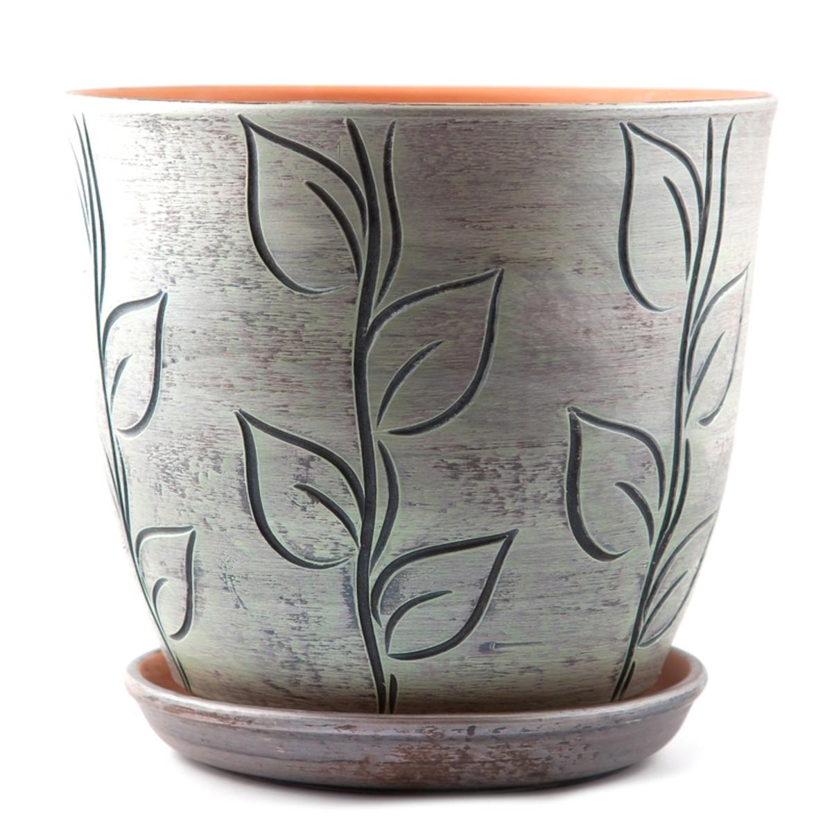 Горшок цветочный «Листья» серый 270 мм керамика с поддоном