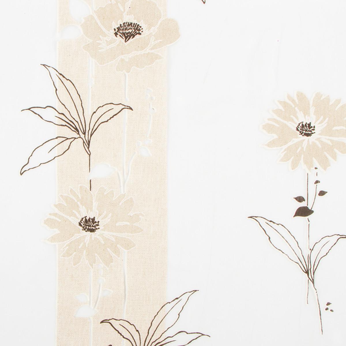 Тюль 290 см цветы органза светло-бежевый 1 пог. м