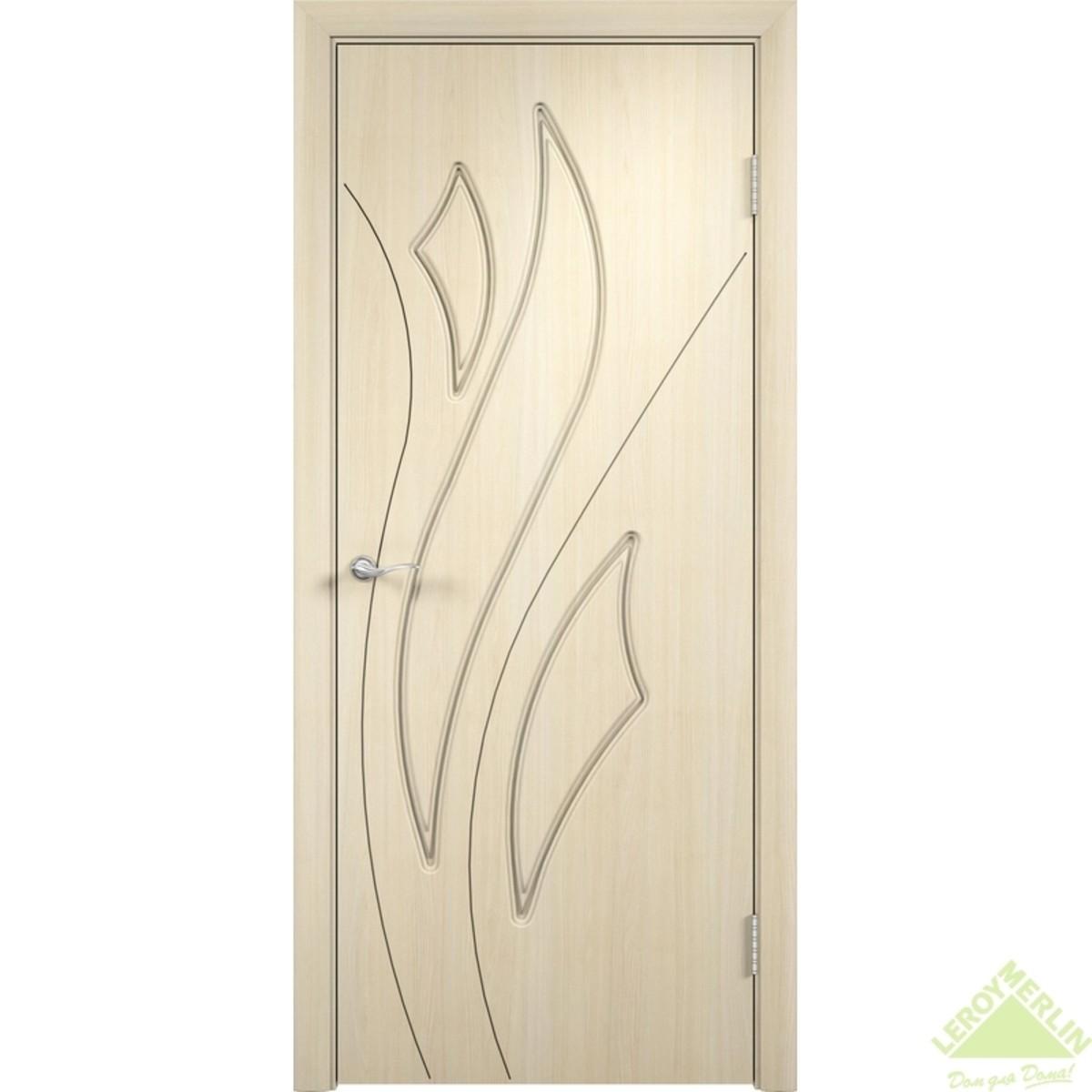Дверное полотно глухое Латина 60x200 см ПВХ белёный дуб