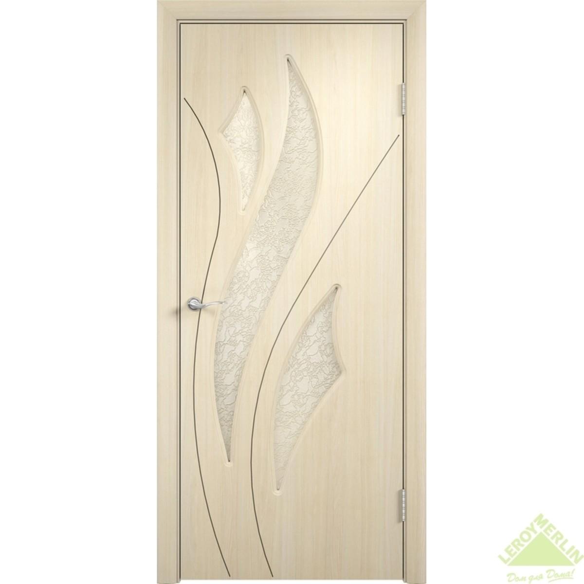 Дверное полотно остеклённое Латина Дельта 90x200 см ПВХ белёный дуб