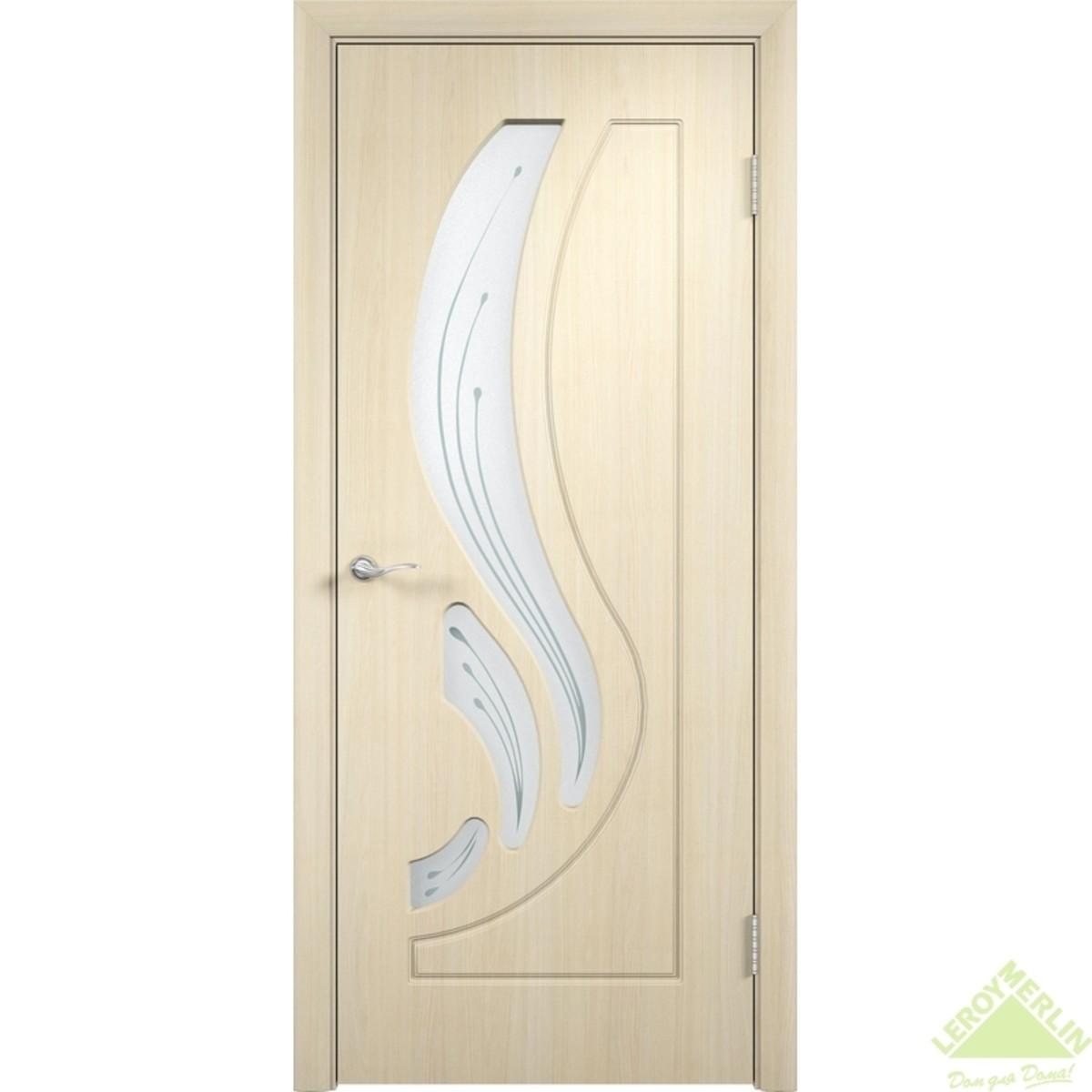 Дверное полотно остеклённое Лиана Сатинато 600x2000 мм ПВХ белёный дуб