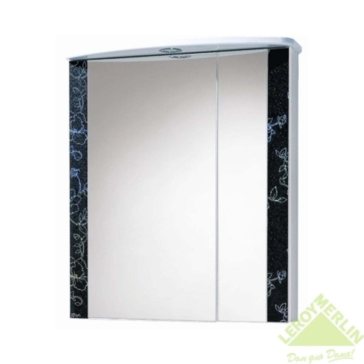 Шкаф зеркальный Акваль Токио 60 см ДСП/МДФ цвет белый/венге