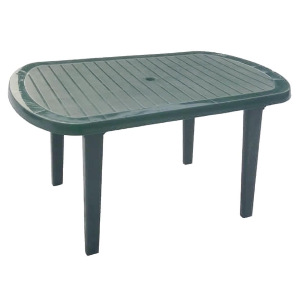 Стол садовый овальный пластик цвет темно-зеленый
