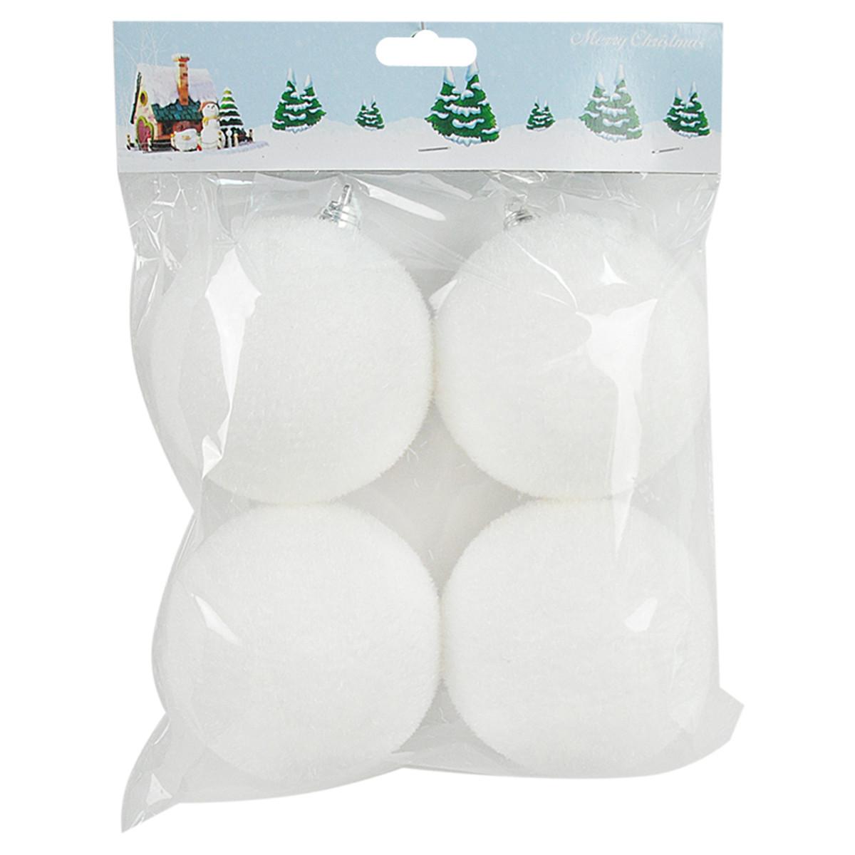 Набор елочных украшений Пушистые шар елочный 8 см цвет белый 4 шт.