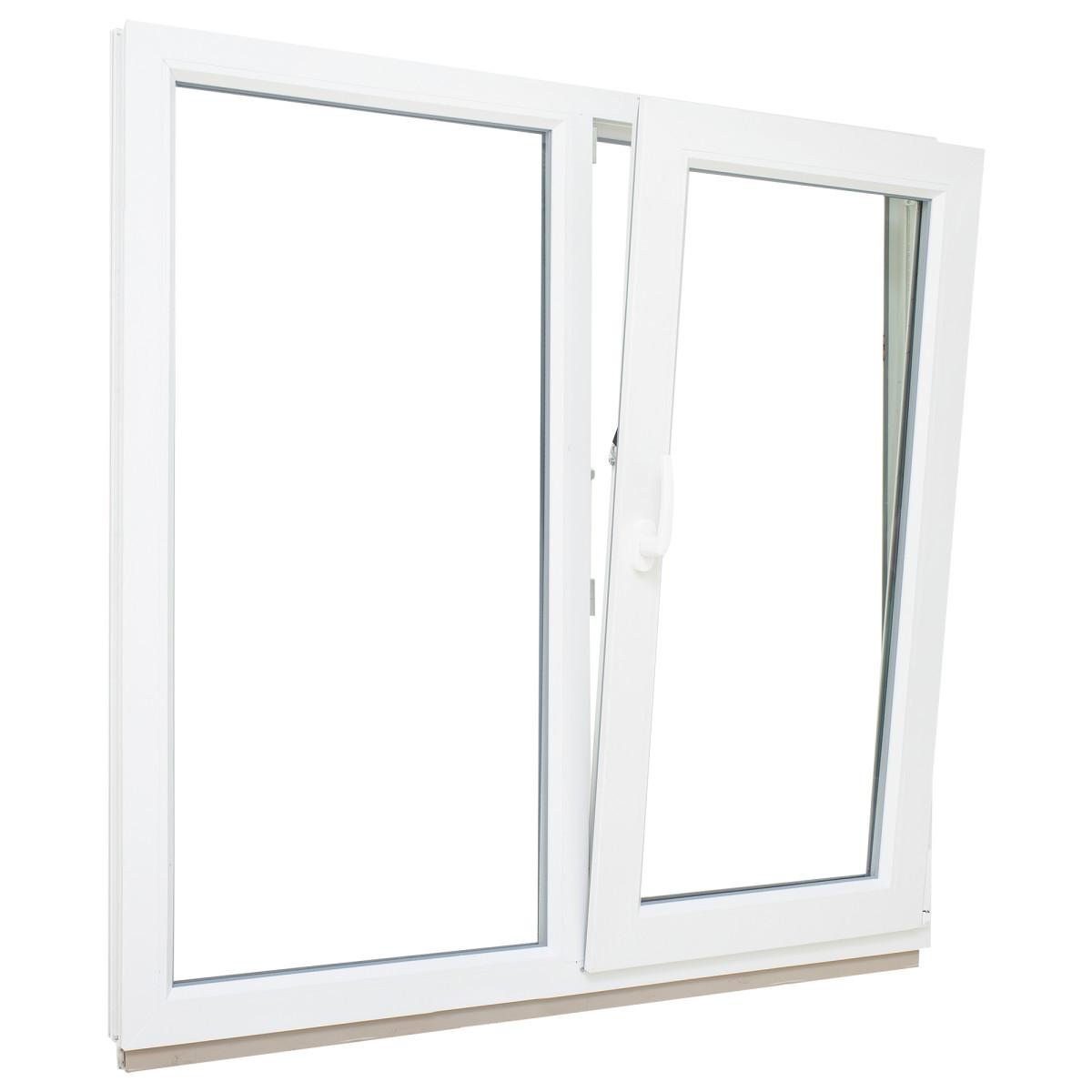 Окно ПВХ двустворчатое 110х100 см глухое/поворотно-откидное правое