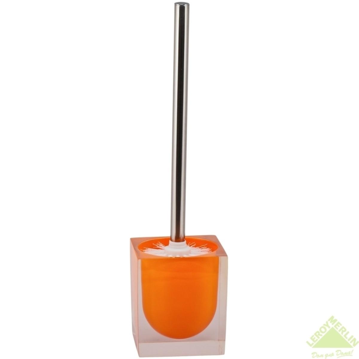 Ершик для унитаза Кристалл напольный из полирезина оранжевый