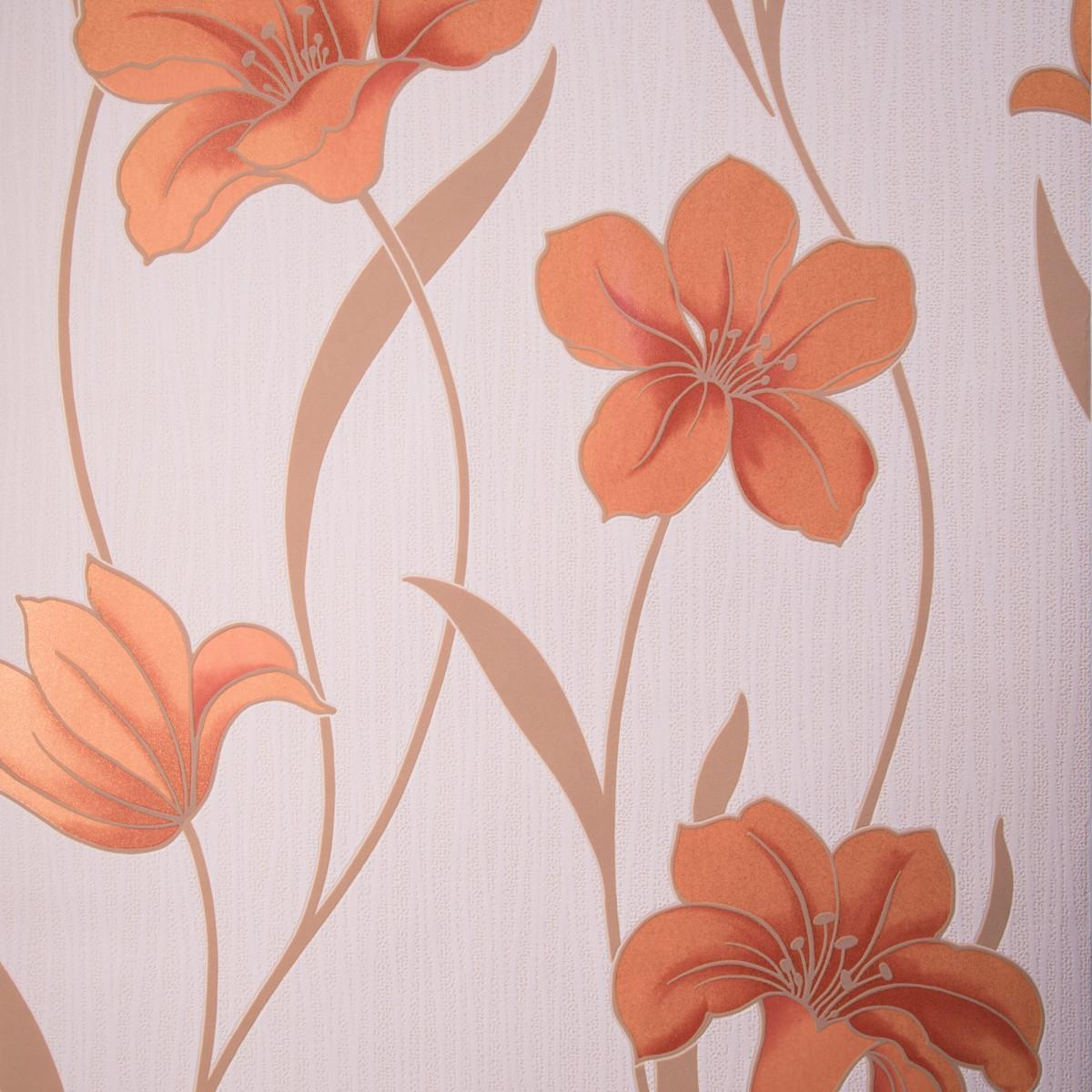 Обои виниловые 053х10 м цветы оранжевый Id-013-03-6