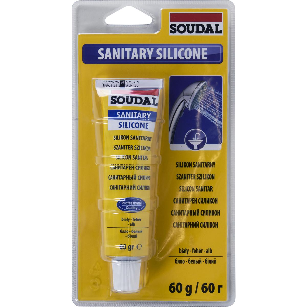 Герметик силиконовый санитарный белый Soudal 60 мл