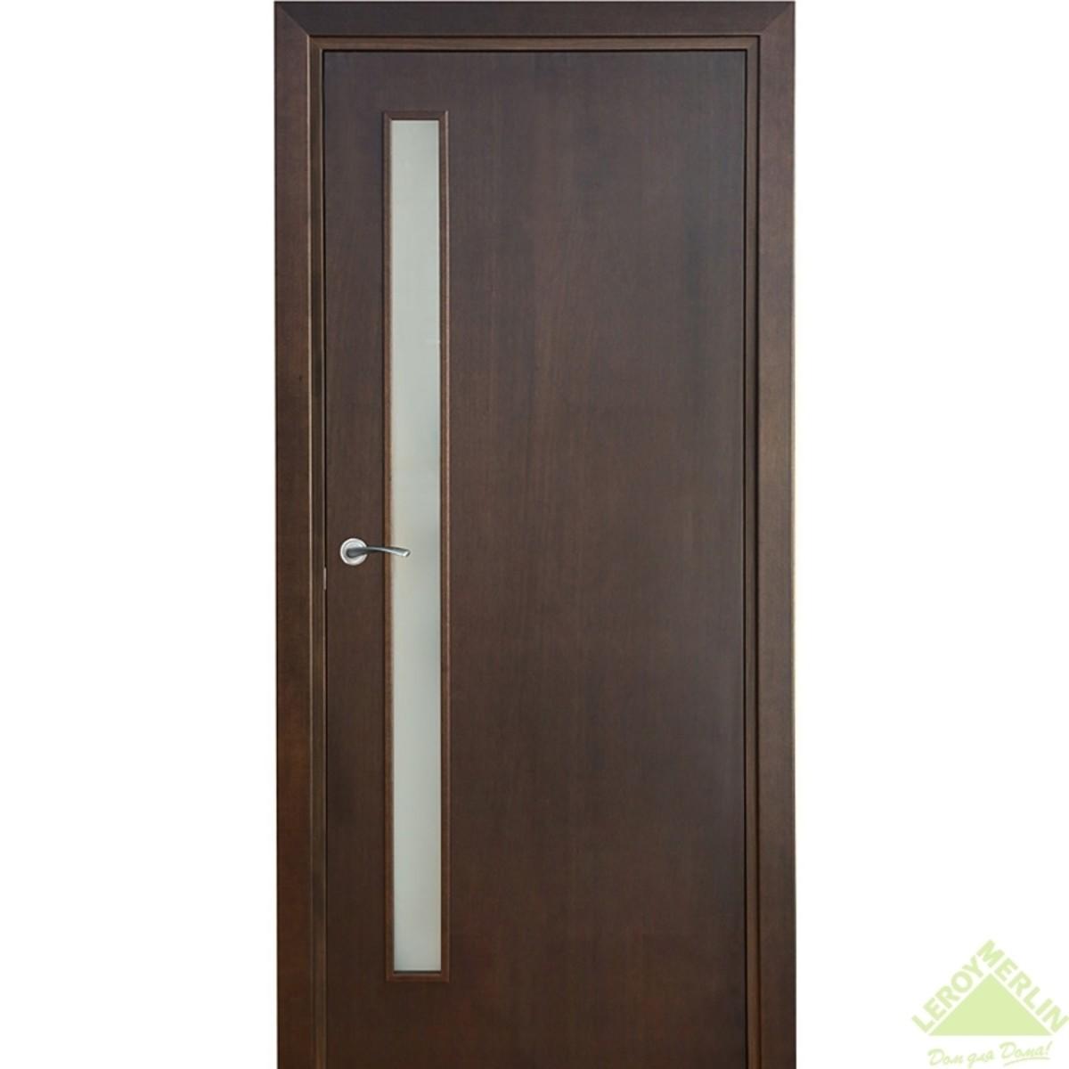 Дверь межкомнатная остеклённая Vario Сатин 601 900x2000 мм махагон