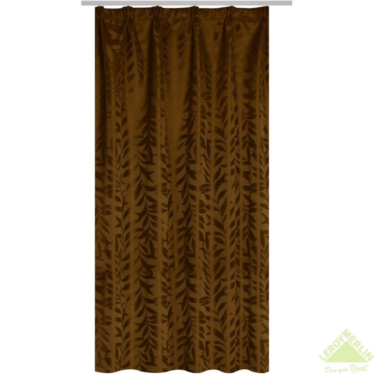 Штора 135x260 см Мишель жаккард лента коричневый