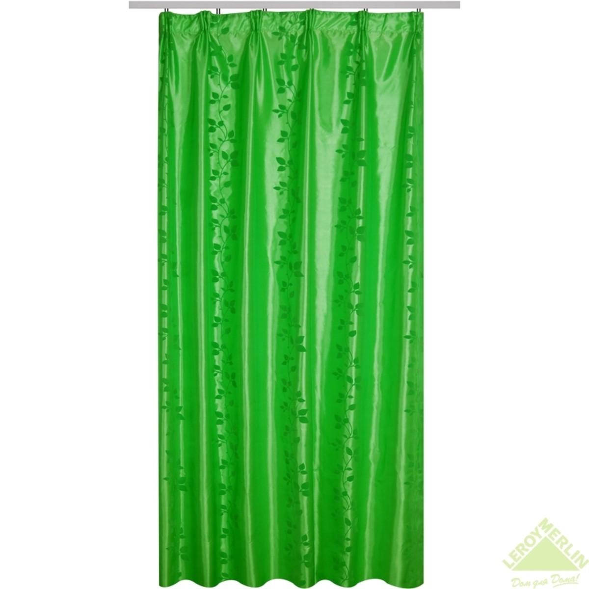 Штора 140x260 см Ариэль тафта флок лента зеленый