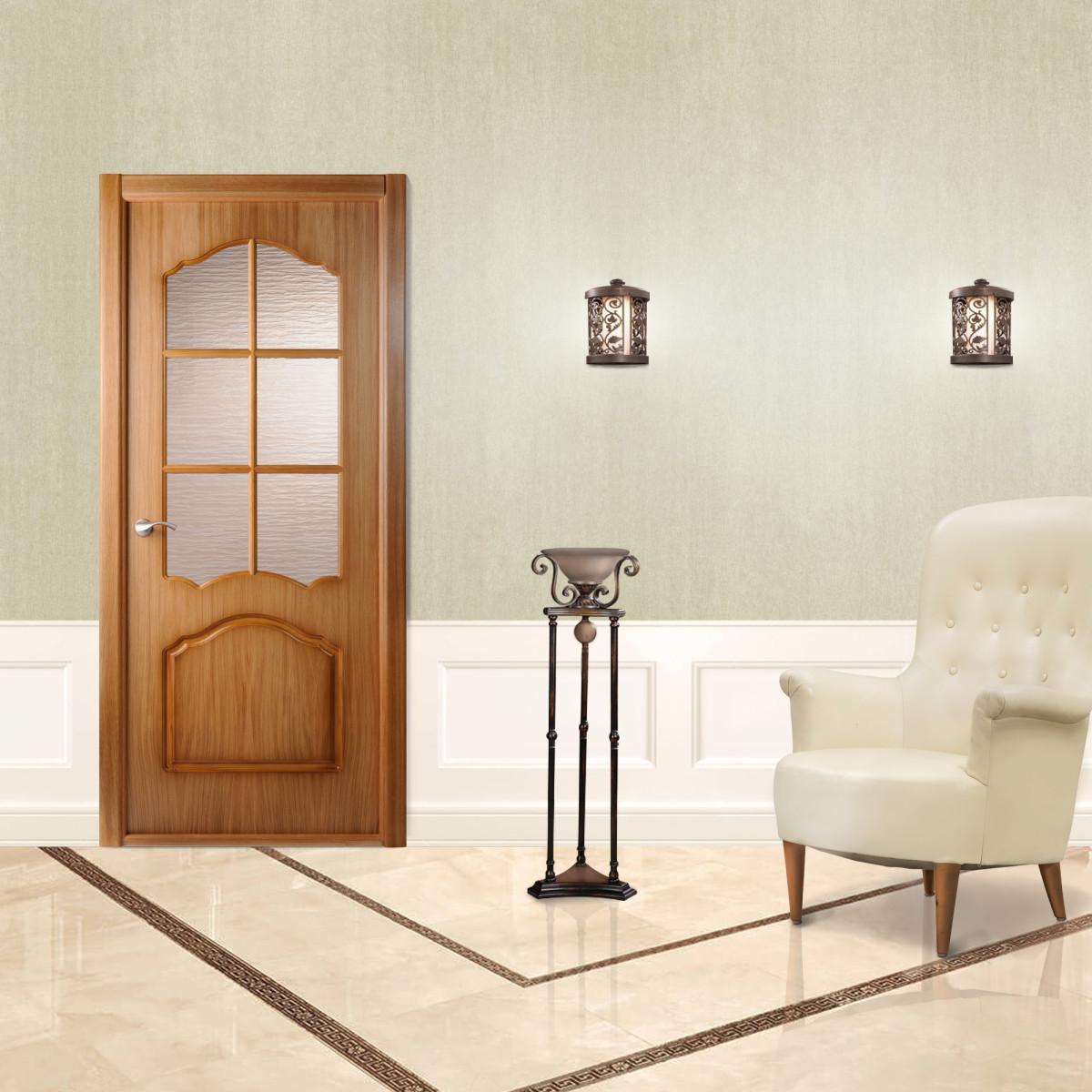 Дверь Межкомнатная Остеклённая Каролина 80x200 Ламинация Цвет Дуб