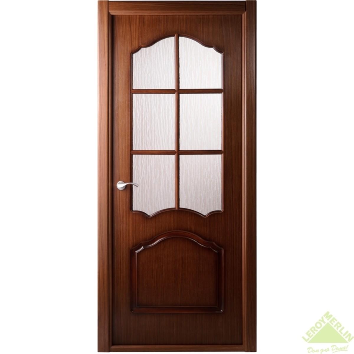 Дверь межкомнатная остеклённая Каролина 600x2000 мм орех