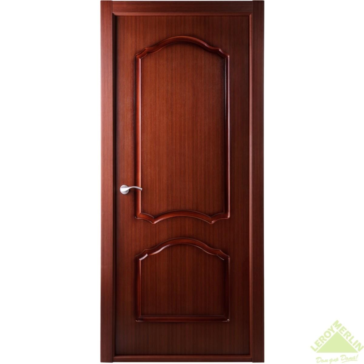 Дверь Межкомнатная Глухая Каролина 80x200 Ламинация Цвет Красное Дерево