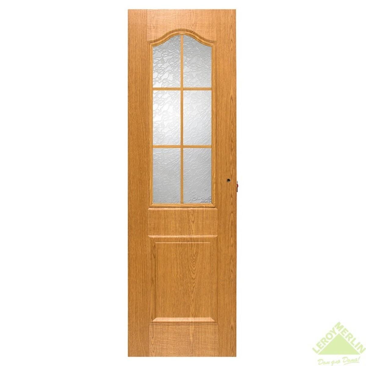 Дверь межкомнатная остеклённая Капричеза 600x2000 мм светлый дуб