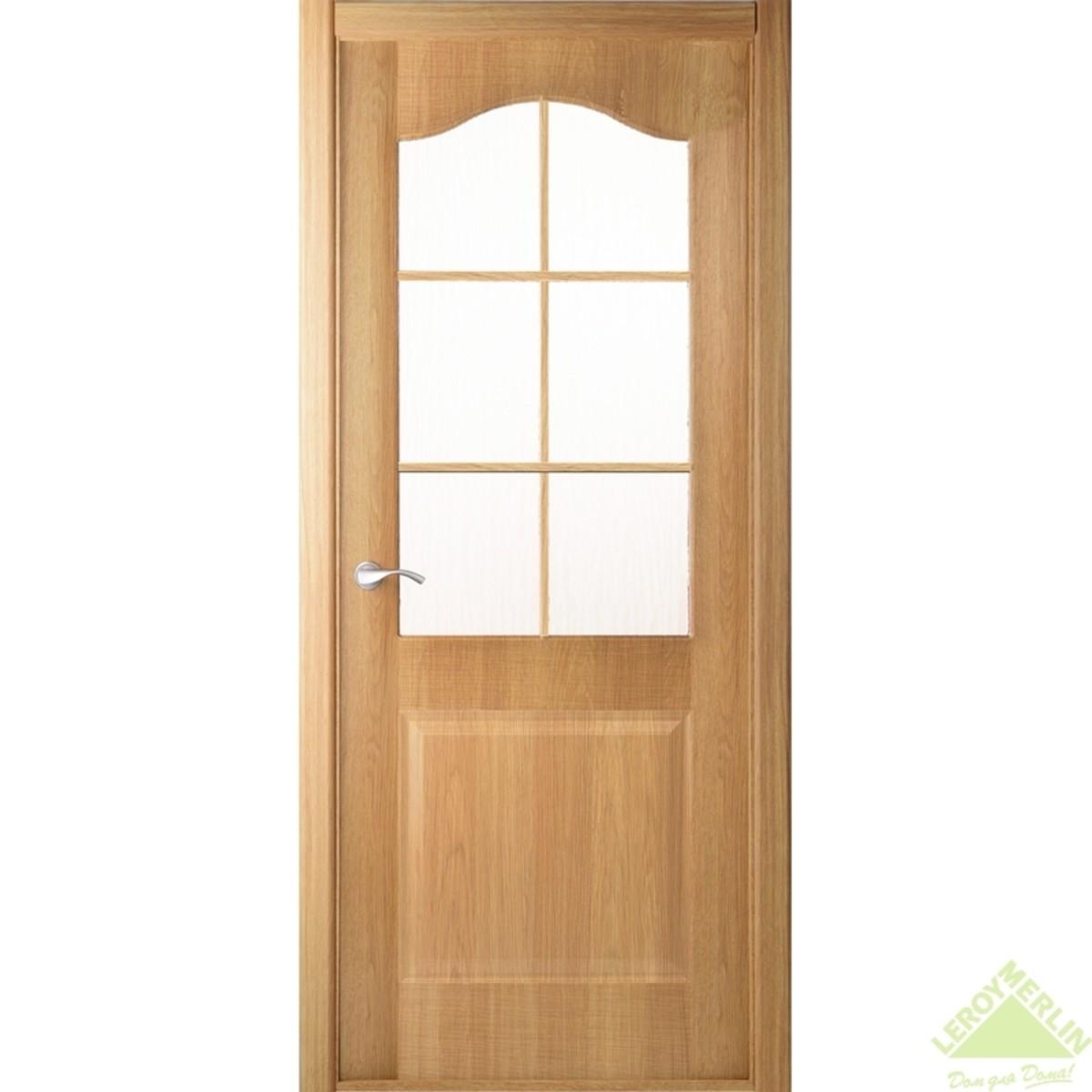 Дверь межкомнатная остеклённая Капричеза 800x2000 мм светлый дуб