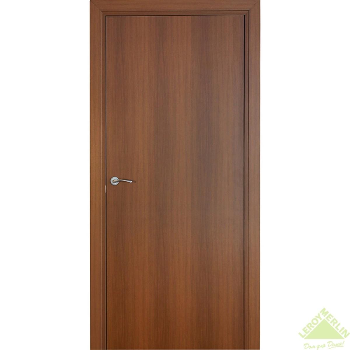 Дверь межкомнатная глухая Фортунато 60x200 см ламинация цвет орех