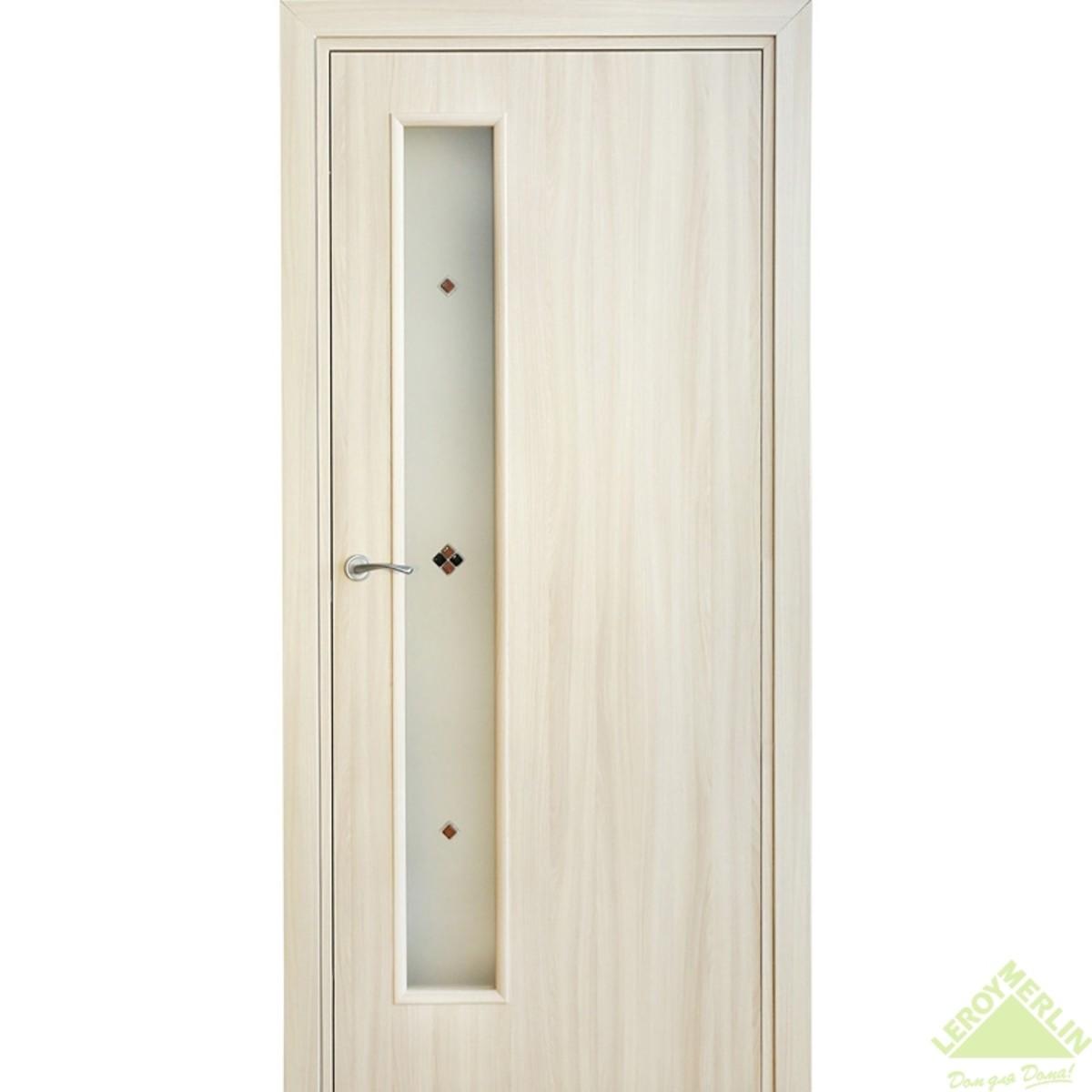 Дверь межкомнатная остеклённая Фортунато Модерн 90x200 см ламинация цвет ясень