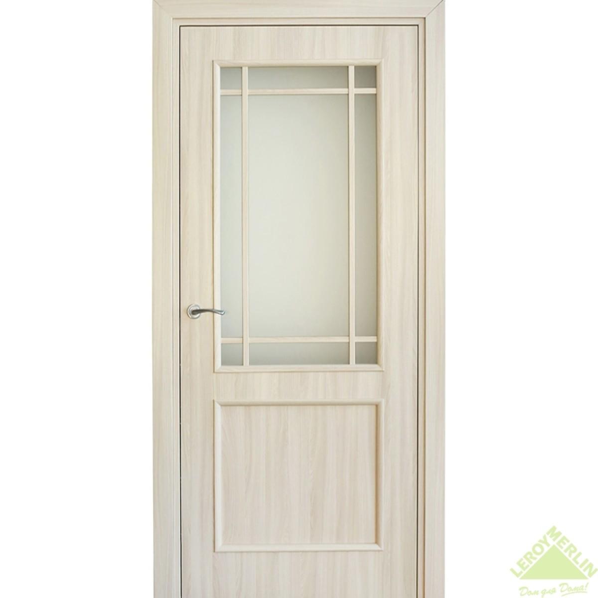 Дверь межкомнатная остеклённая Фортунато Классика 60x200 см ламинация цвет ясень