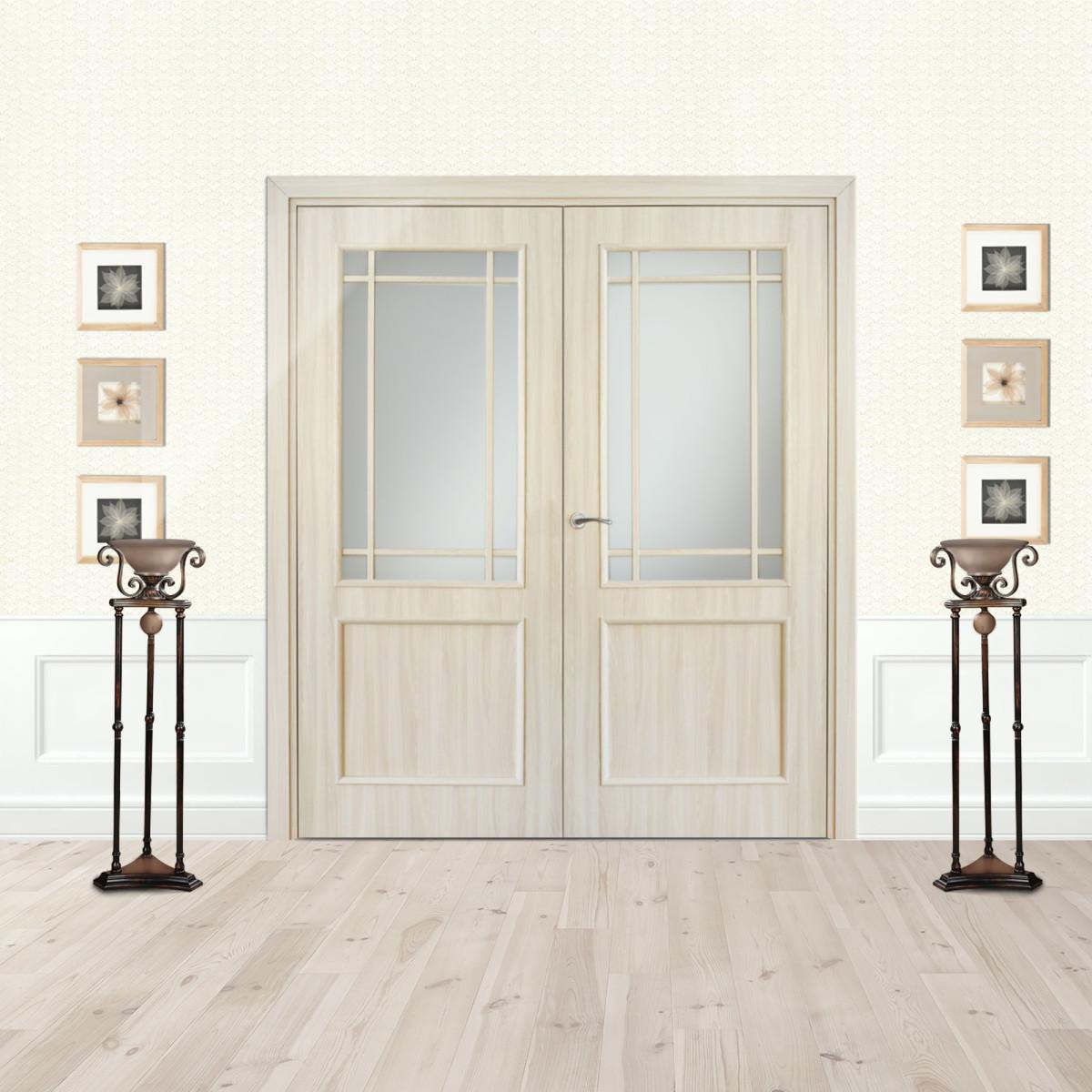 Дверь межкомнатная остеклённая Фортунато 2x60x200 см ламинация цвет ясень