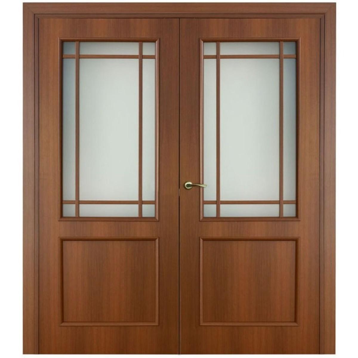 Дверь межкомнатная остеклённая Фортунато 2x60x200 см ламинация цвет орех