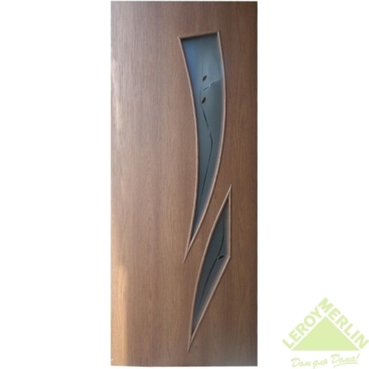 Дверное полотно остеклённое Камея 900x2000 мм каштан с фурнитурой