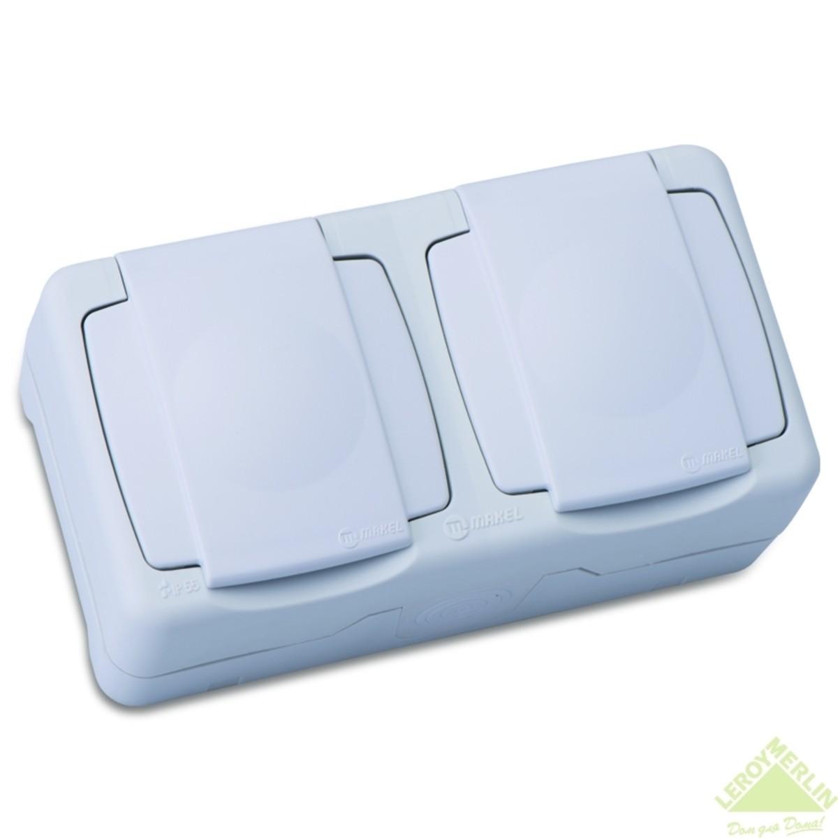 Блок MAKEL розетка + розетка с заземлением крышка IP55 белый