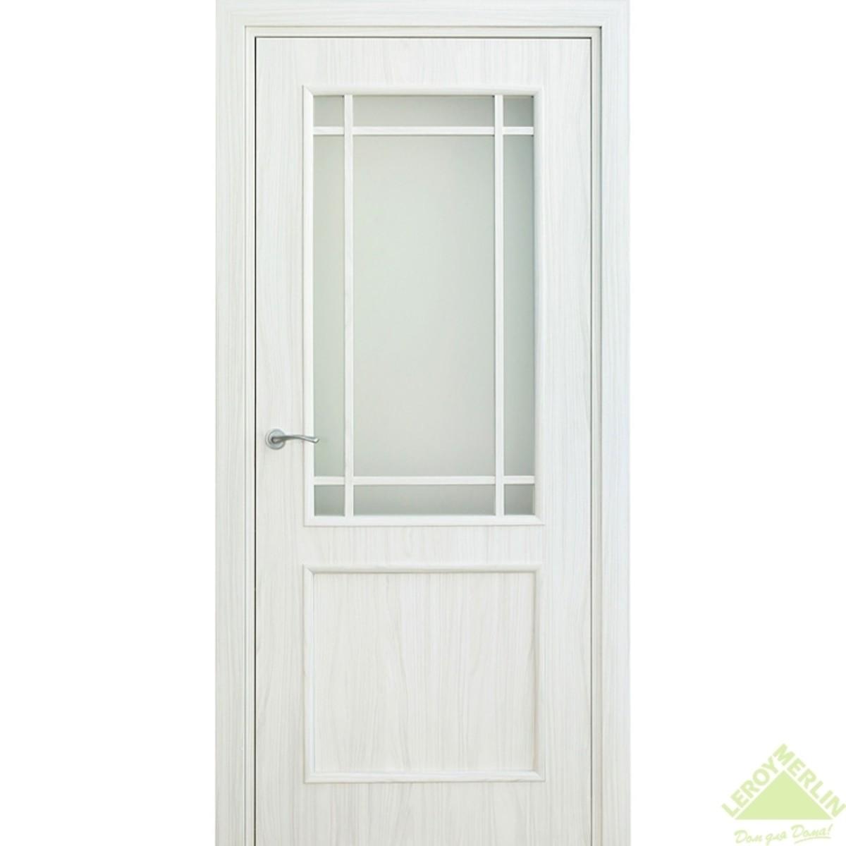 Дверь межкомнатная остеклённая Фортунато 819 600x2000 мм снежный палисандр