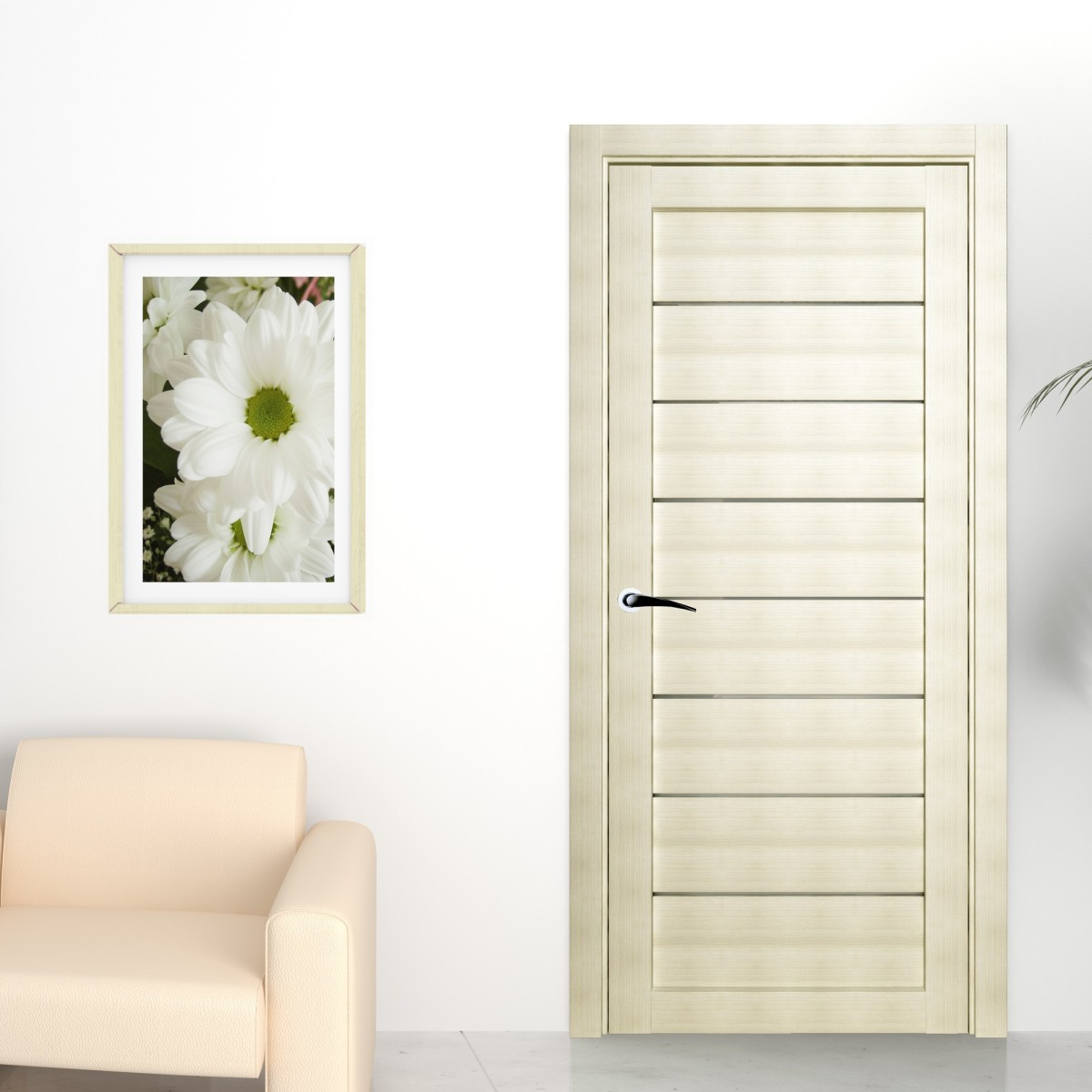 Дверь межкомнатная глухая Сабрина 90x200 см ламинация цвет латте с фурнитурой