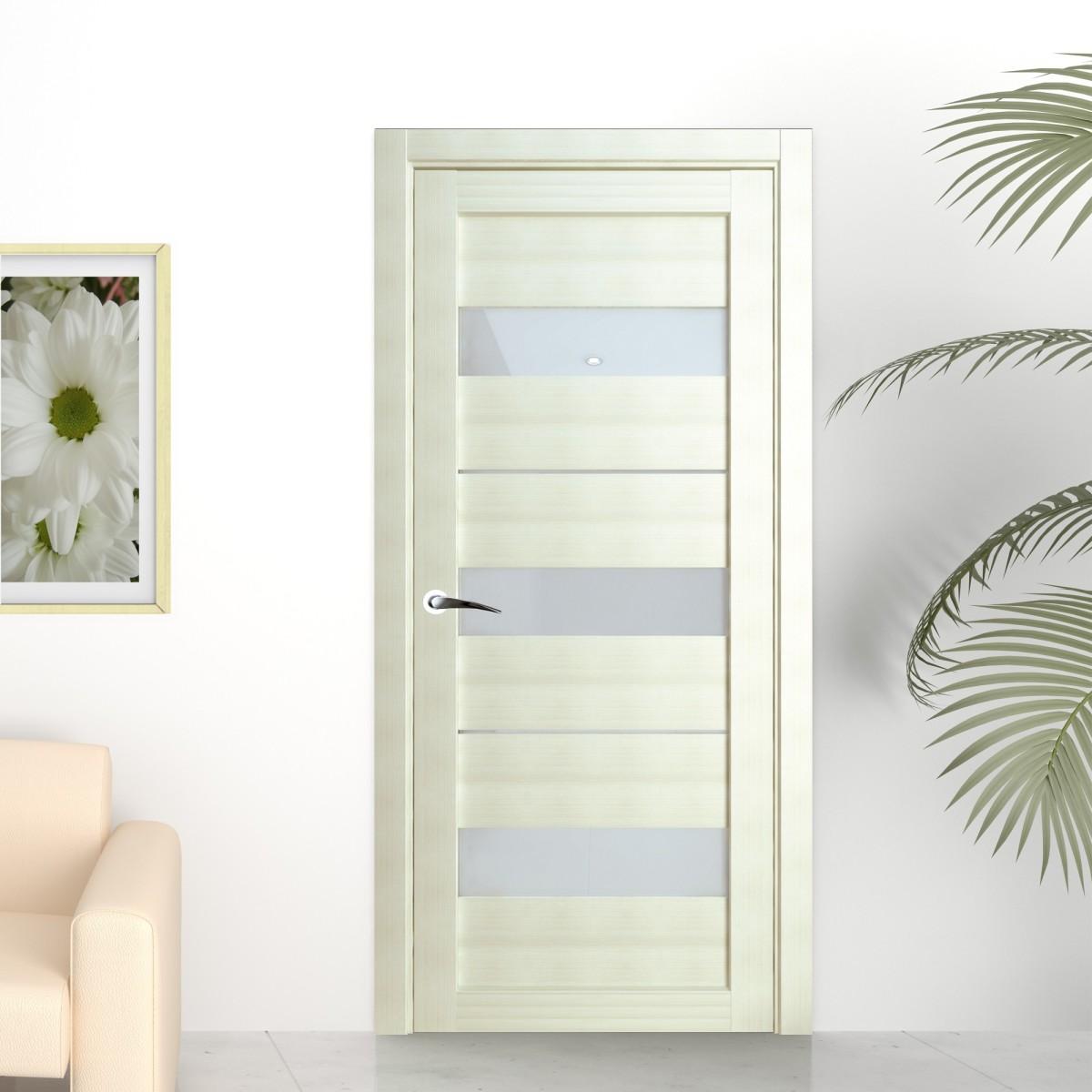 Дверь Межкомнатная Остеклённая «Сабрина» 200Х90 Ламинация Цвет Латте С Фурнитурой