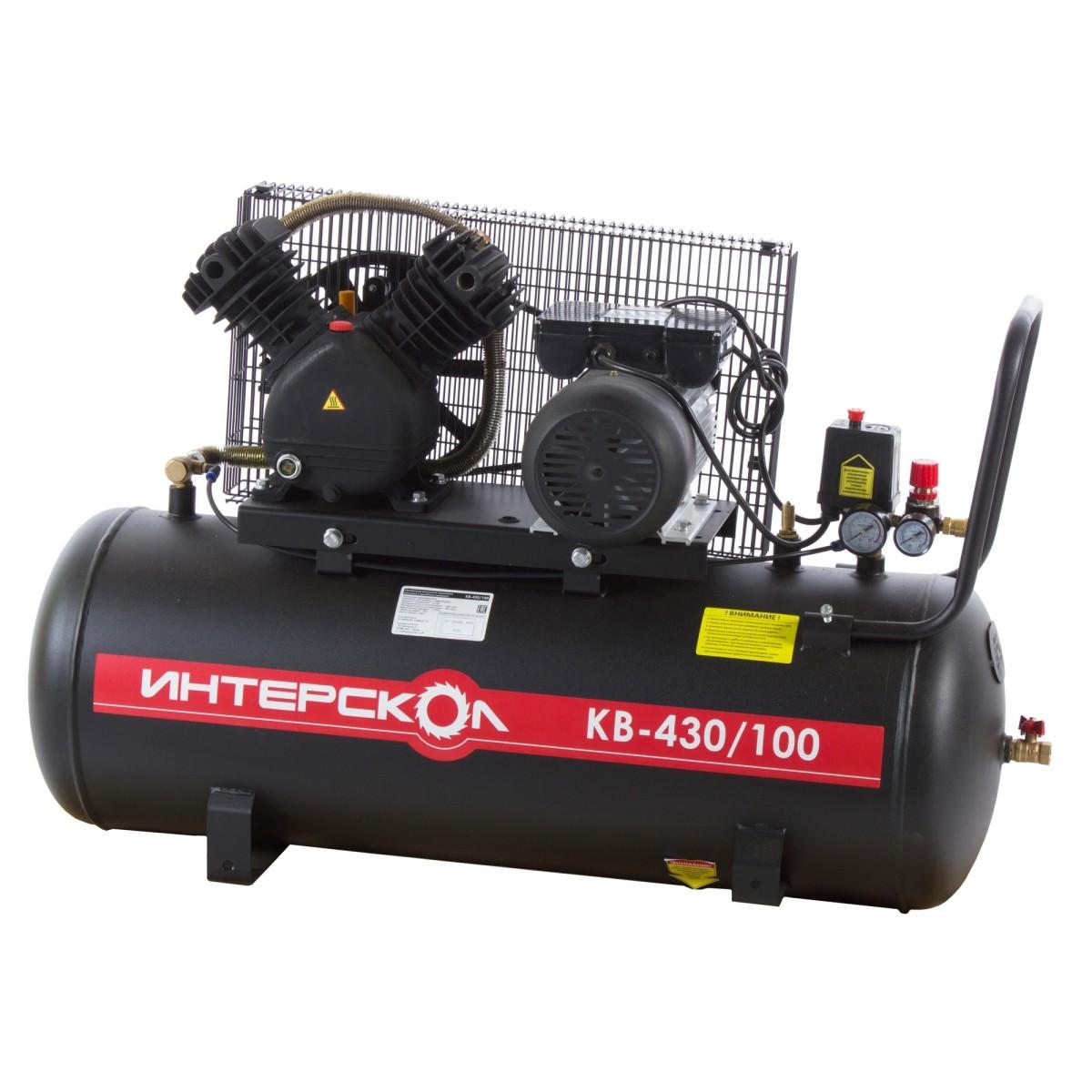 Компрессор масляный Интерскол 100 л 430 л/мин. 2.2 кВт