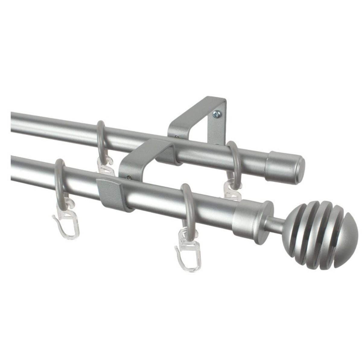 Карниз двухрядный Easy «Шар» 280 см цвет серебро