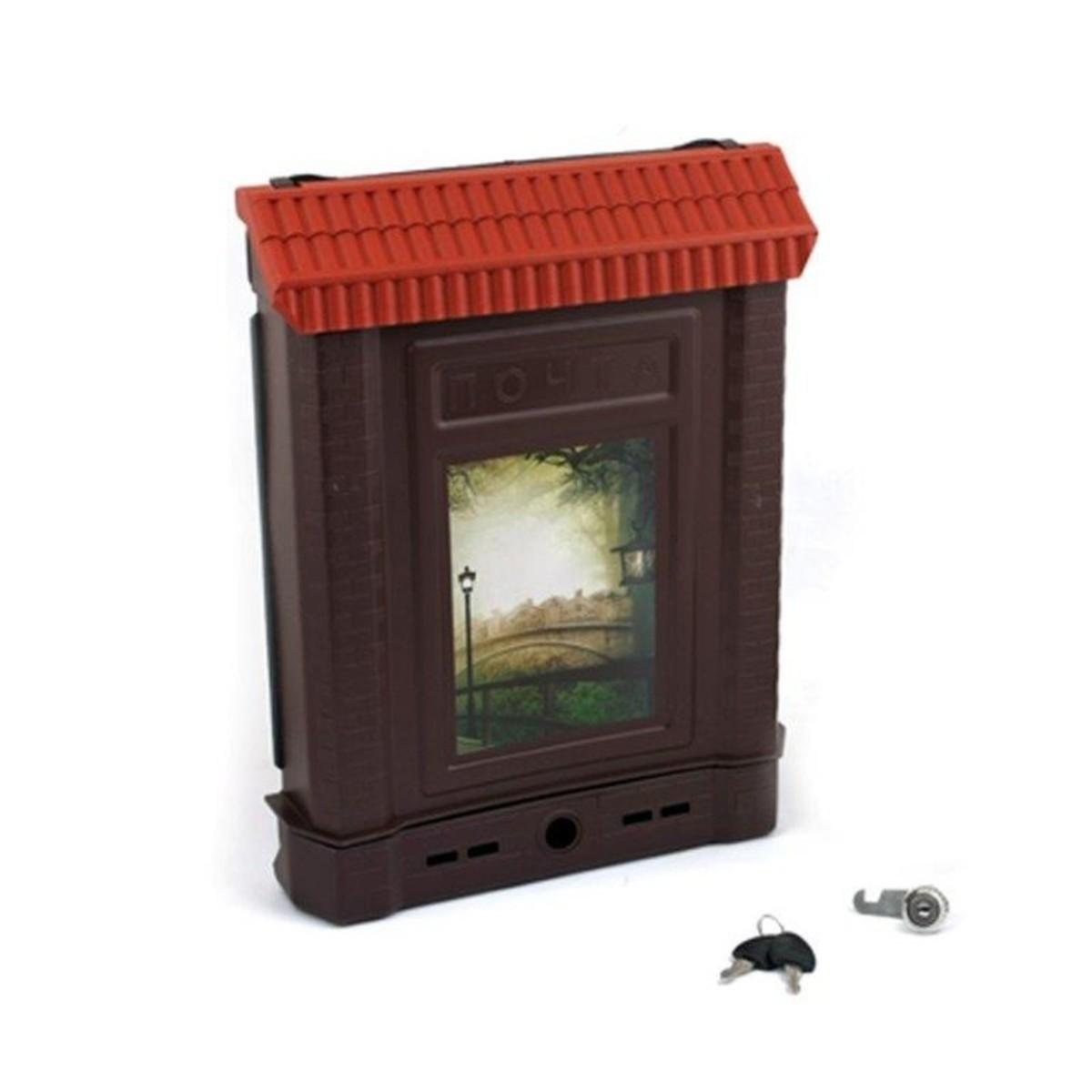 Ящик почтовый ПРЕМИУМ внешний с замком (коричневый фонарь)