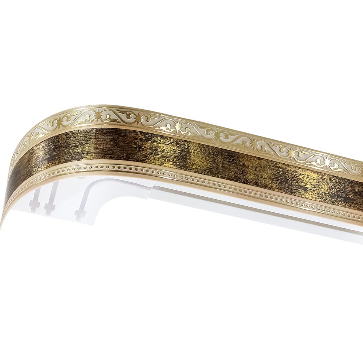 Карниз шинный трехрядный «Монарх» в наборе 240 см пластик цвет золото антик