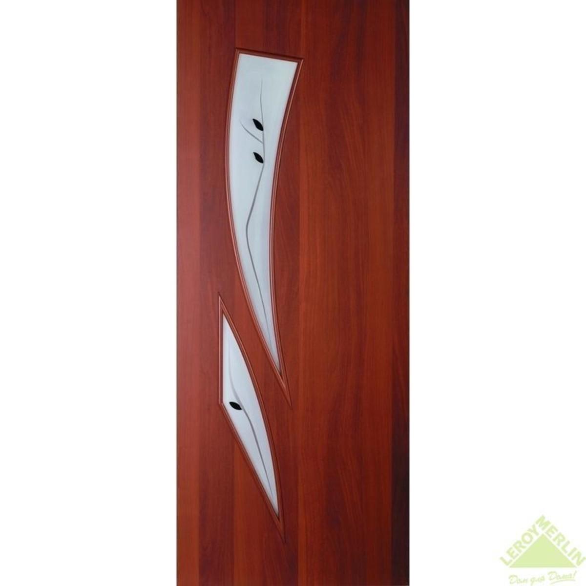 Дверь межкомнатная остеклённая Камея 900x2000 мм ламинация итальянский орех