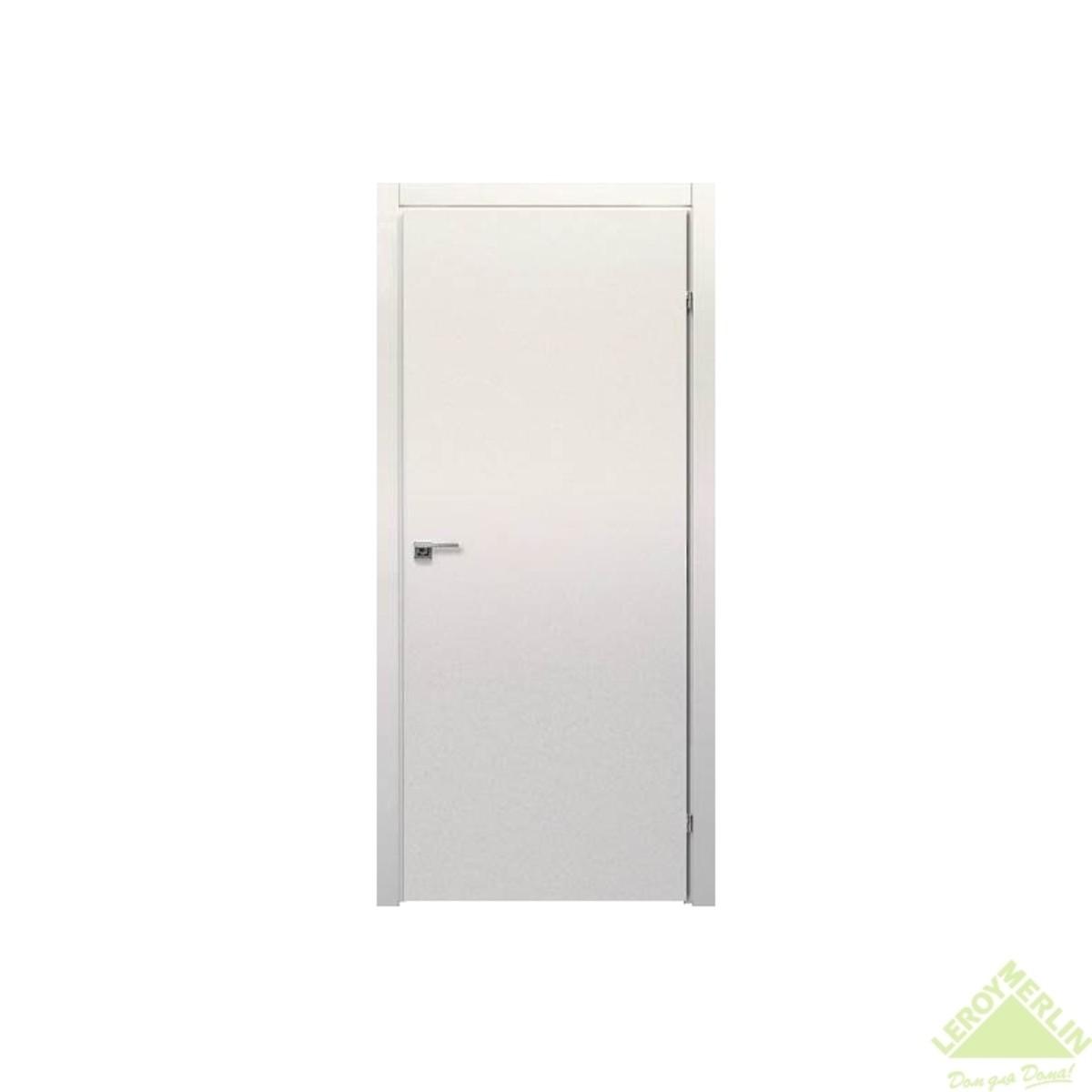 Дверь межкомнатная глухая 800x2000 мм ламинация белый с фурнитурой