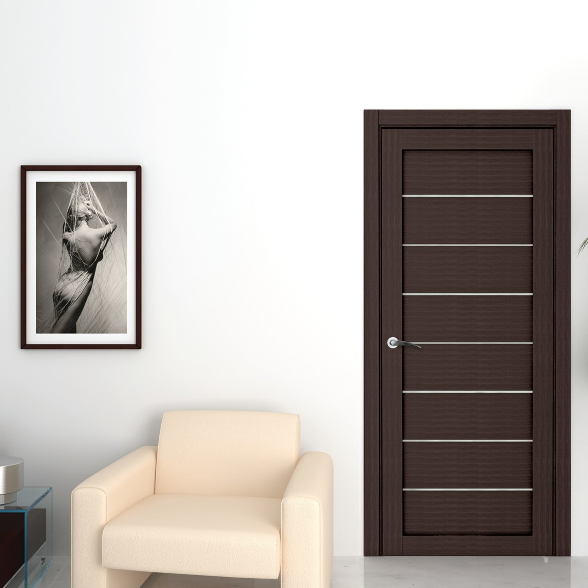 Дверь Межкомнатная Глухая Сабрина 55x190 Ламинация Цвет Мокко С Фурнитурой